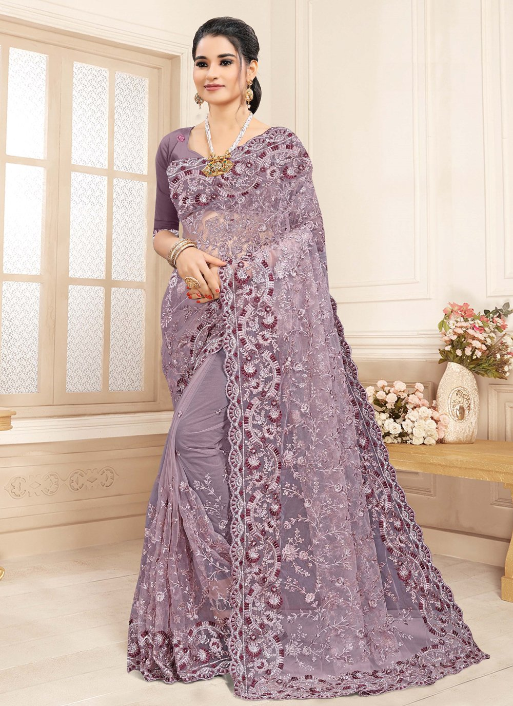 Lavender Trendy Saree