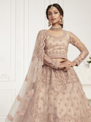 Lehenga Choli Embroidered Net in Pink