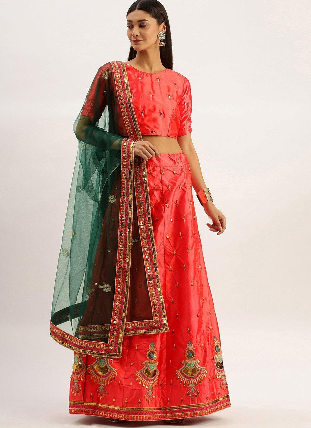 Lehenga Choli Embroidered Satin Silk in Pink
