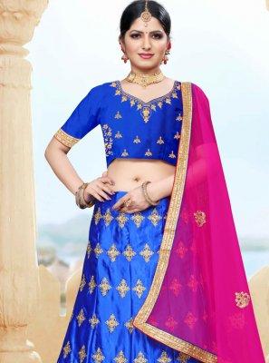 Lehenga Choli Embroidered Silk in Blue