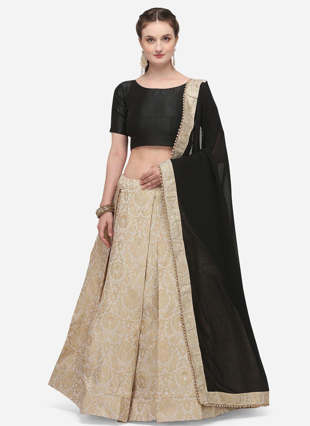 Lehenga Choli Fancy Banarasi Silk in Beige
