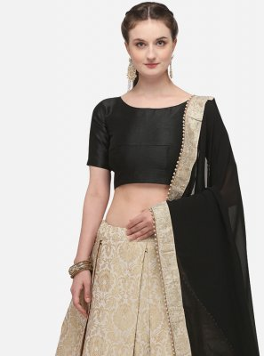 Lehenga Choli Fancy Banarasi Silk in Beige