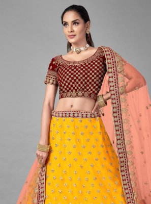 Lehenga Choli Fancy Velvet in Mustard