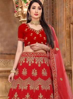 Lehenga Choli Lace Velvet in Red