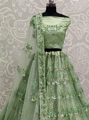 Lehenga Choli Patch Border Net in Green