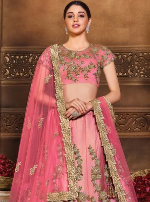 Lehenga Choli Patch Border Net in Pink