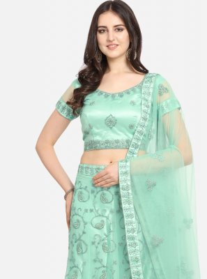 Lehenga Choli Patch Border Net in Sea Green