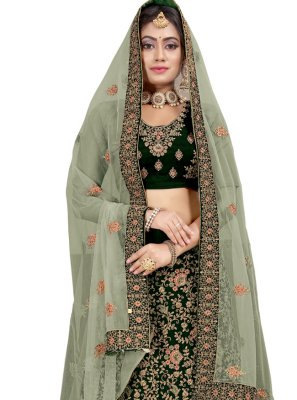 Lehenga Choli Patch Border Velvet in Green