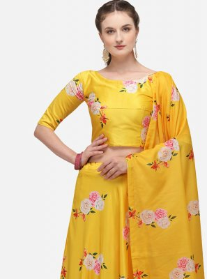 Lehenga Choli Print Satin in Yellow