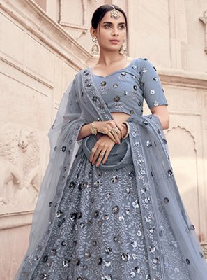 Lehenga Choli Sequins Net in Grey