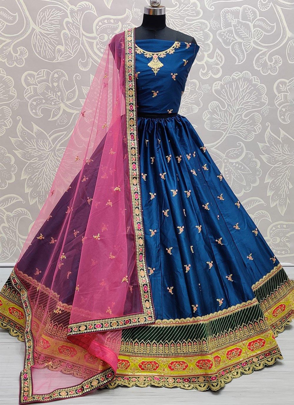 Lehenga Choli Sequins Silk in Blue