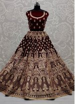 Lehenga Choli Sequins Velvet in Maroon