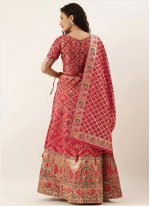Lehenga Choli Weaving Art Silk in Hot Pink