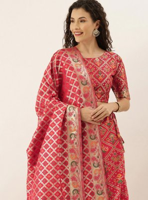 Lehenga Choli Weaving Art Silk in Hot Pink