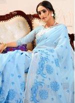 Linen Aqua Blue Trendy Saree