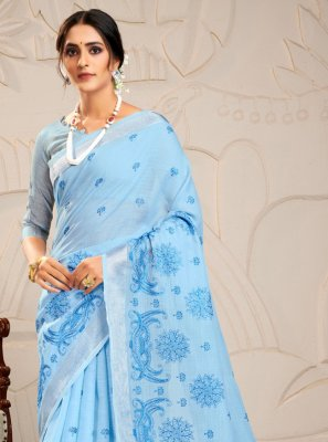 Linen Aqua Blue Trendy Saree