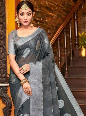 Linen Black and Grey Fancy Trendy Saree