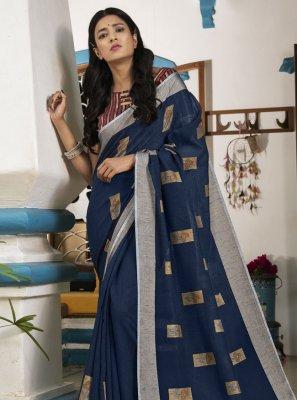 Linen Blue Traditional Saree