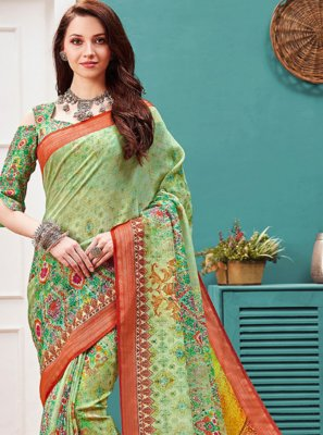 Linen Digital Print Printed Saree in Multi Colour