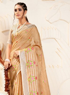 Linen Embroidered Brown Bollywood Saree