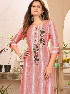 Linen Embroidered Designer Kurti in Red and White