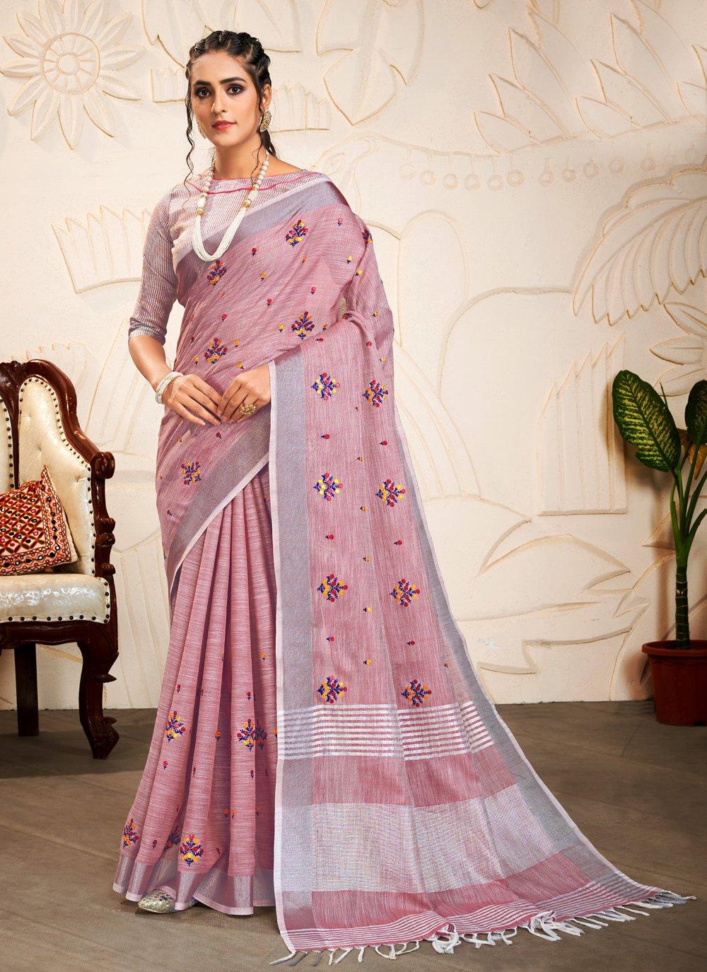 Linen Embroidered Magenta Classic Saree