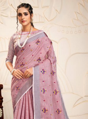 Linen Embroidered Magenta Classic Saree