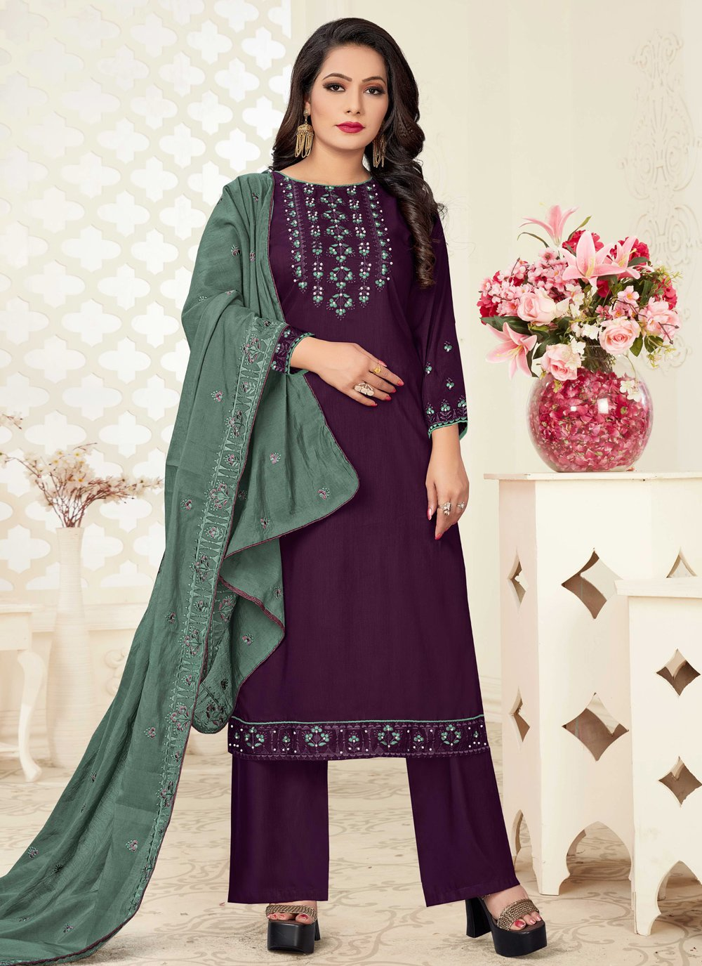 Linen Embroidered Purple Readymade Suit