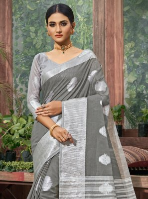 Linen Grey Classic Designer Saree