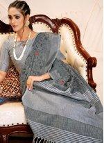Linen Grey Embroidered Designer Saree