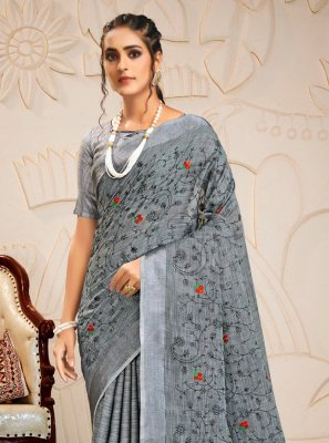 Linen Grey Embroidered Designer Saree
