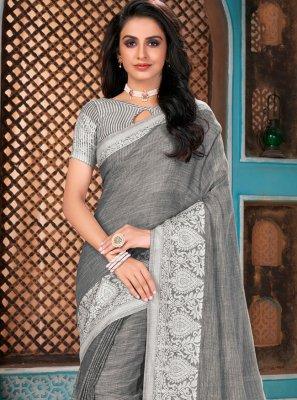 Linen Grey Woven Designer Traditional Saree