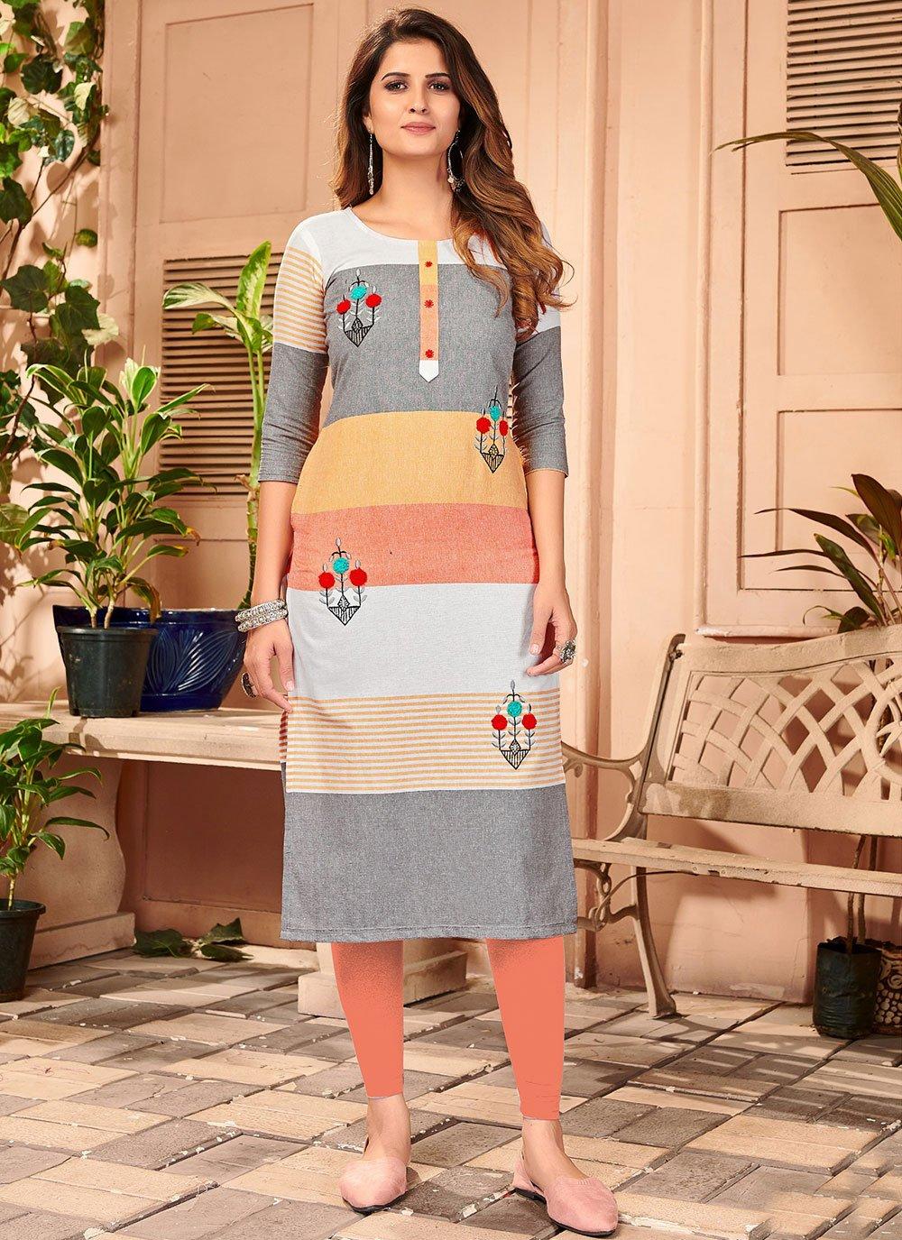 Linen Multi Colour Embroidered Designer Kurti