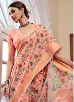 Linen Pink Printed Saree