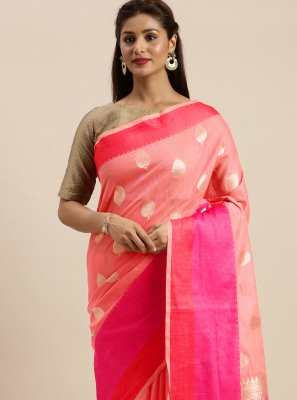 Linen Pink Woven Traditional Saree