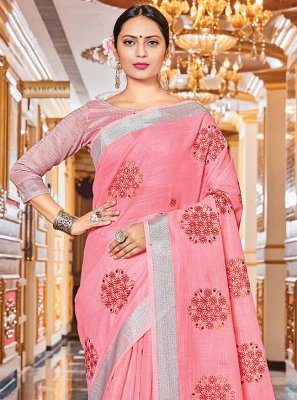 Linen Pink Woven Trendy Saree