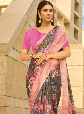 Linen Printed Multi Colour Printed Saree