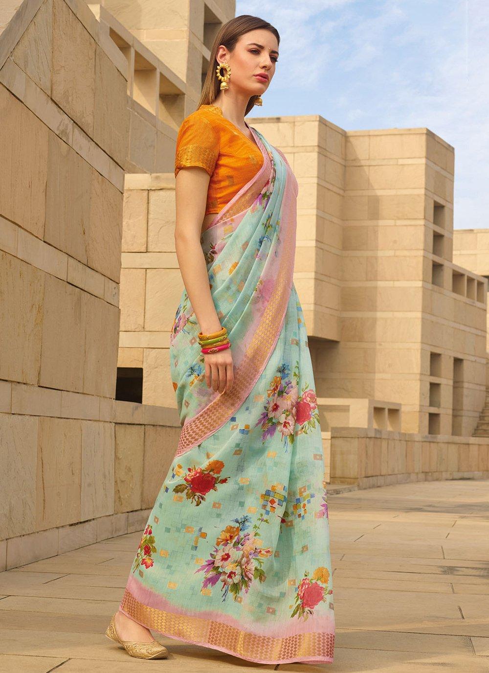 Linen Printed Sea Green Printed Saree