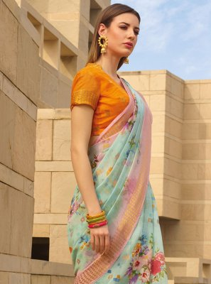 Linen Printed Sea Green Printed Saree