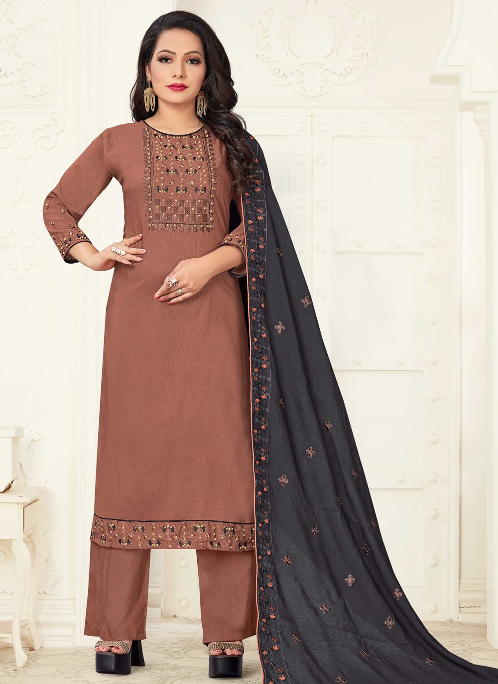 Linen Readymade Suit in Brown