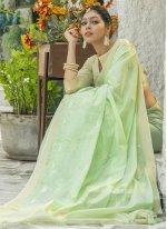 Linen Resham Classic Designer Saree in Green