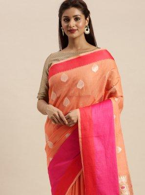 Linen Salmon Woven Designer Traditional Saree