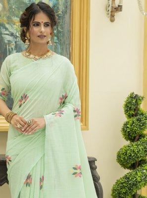 Linen Sea Green Classic Saree