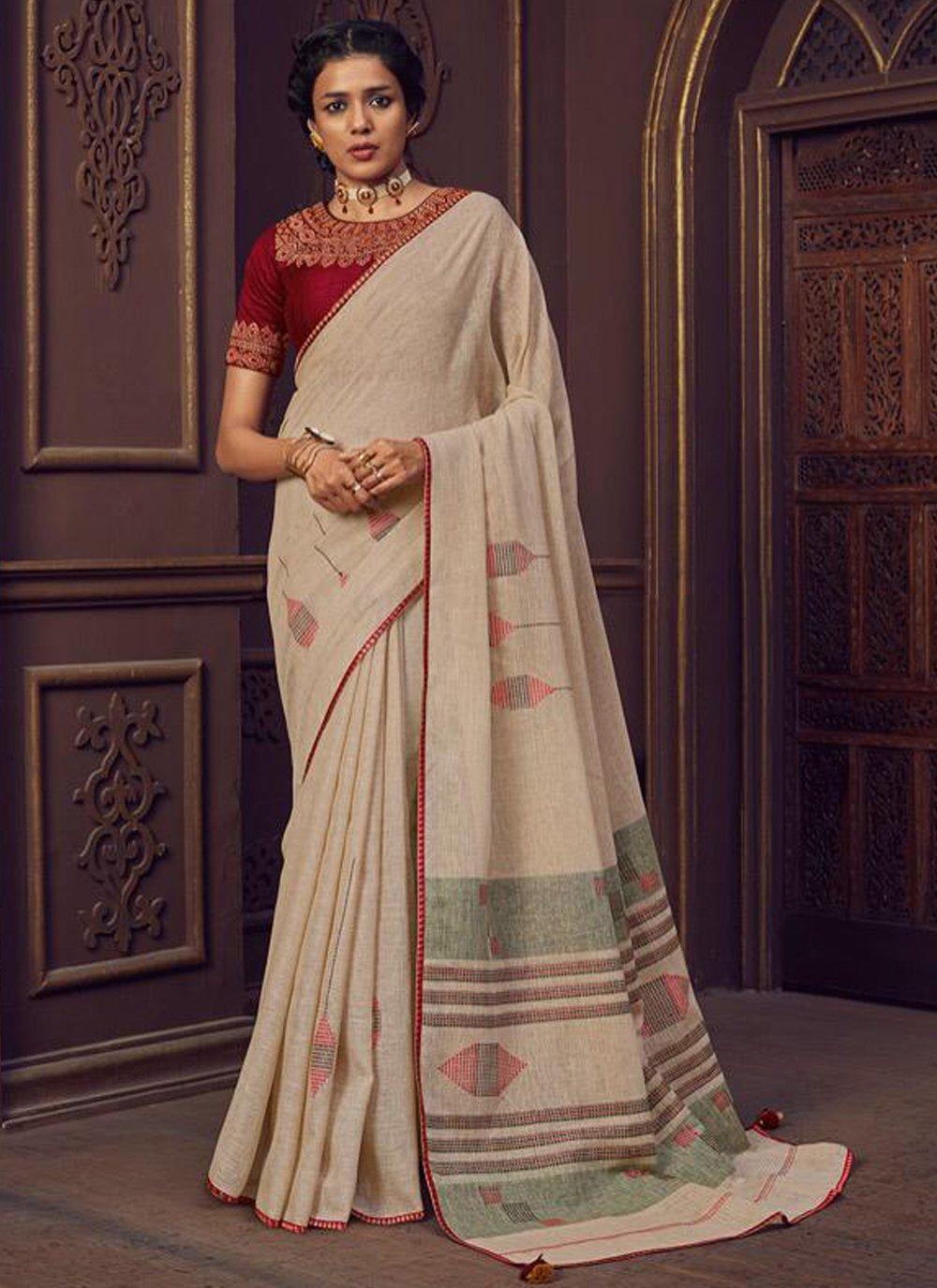 Linen Thread Work Cream Classic Designer Saree