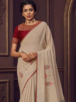 Linen Thread Work Cream Classic Designer Saree