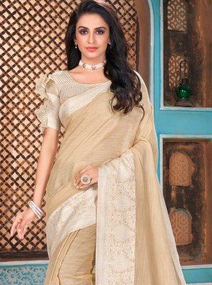 Linen Traditional Designer Saree in Beige