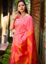 Linen Weaving Pink Designer Traditional Saree