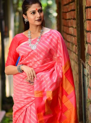 Linen Weaving Pink Designer Traditional Saree