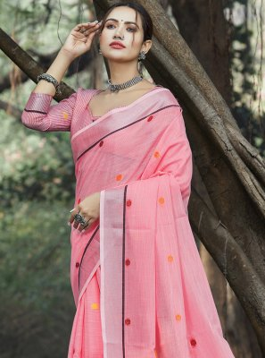 Linen Weaving Pink Trendy Saree