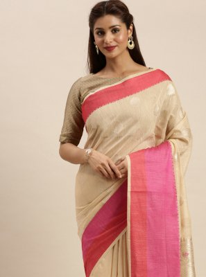 Linen Woven Beige Traditional Designer Saree